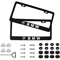2Pcs Newest Matte Aluminum Alloy Logo License Plate Frame for BMW, with Screw Caps Cover Set, Applicable to US Standard…