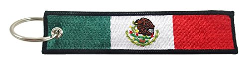 Mexico Flag Key Chain, 100% Embroidered