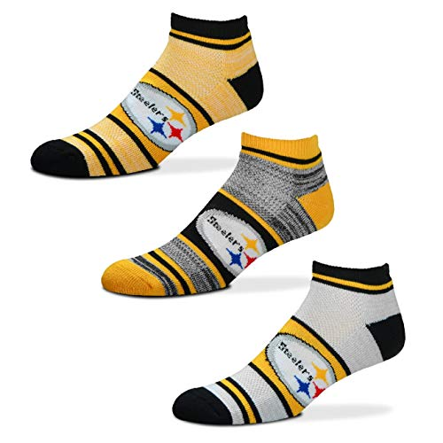 For Bare Feet NFL Triplex Heathered Socks - 3 Pack (Steelers, Large (10-13))