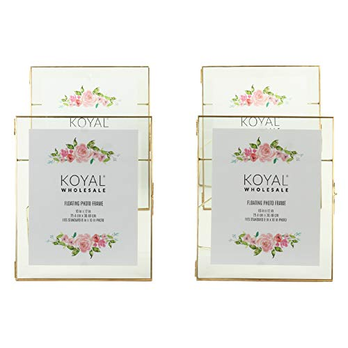 - Koyal Wholesale Pressed Glass Floating Photo Frames 4-Pack with Stands for Horizontal or Vertical Pictures, Table Numbers, Place Cards, Diploma Frame, Certificate Frame (Gold, 10 x 12)
