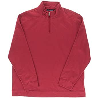John Ashford Mens Mock Neck Pullover 1/2 Zip Sweater Red M