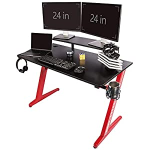 TOPSKY Gaming Desk Home Office Gaming Table with Cup Holder Headphone Hook Z Shaped Leg (120 * 60cm, Red)