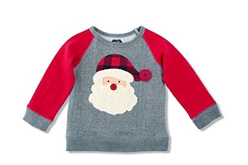 Mud Pie Boys Alpine Village Collection Santa Applique Sweatshirt, 12-18 Months Alpine Santa