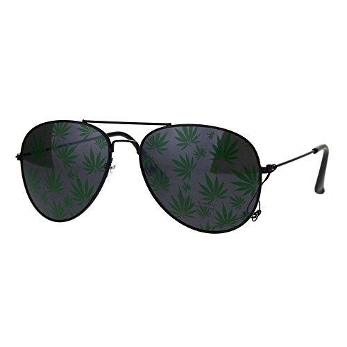 41eb%2BEM36yL - Mens Marijuana Print Lens Pot Head Stoner Metal Rim Pilots Sunglasses