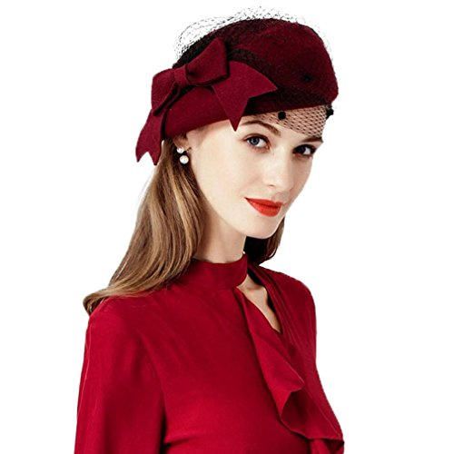 Krastal Womens Fascinator Ladies Wine Red Pillbox Bow Veil Wool Felt Fedoras Vintage Hat - Felt Pill Box