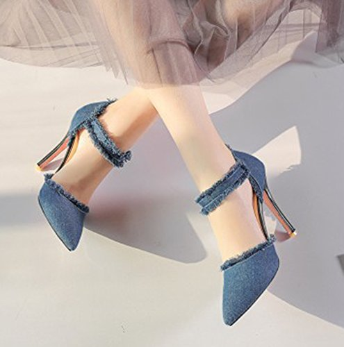 Aisun Kvinna Unik Stilett Höga Klackar Dressat Spände Spetsig Tå Dorsay Denim Pumpar Skor Med Ankel Rem Ljusblå