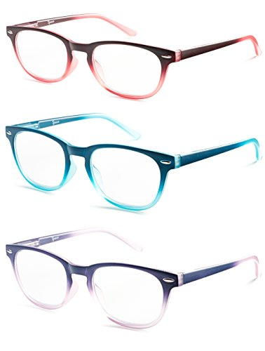 Colorful Round Womens Reading Glasses for Reading - Set of 3 - Blue, Pink, Purple, Value Pack - +1.25 by Specs