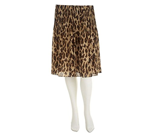 Sunny Leigh Release Pleat Pull-on Skirt Lining A253927, Brown Leopard, - Skirts Sunny Leigh