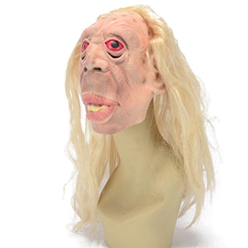 YYF Latex Mask Rubber Creepy Scary Ugly Monster Head The Goonies Sloth Mask Halloween Party Costume Decorations with Hair