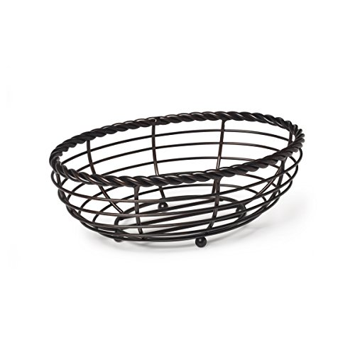 Gourmet Basics by Mikasa Metal Rope Oval Bread Basket, Antique Black