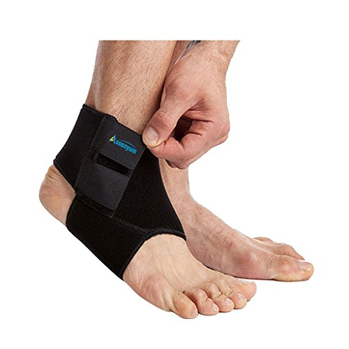 Ankle Support Brace for Women and Men - Neoprene Breathable Dual Adjustable Foot Sprain for Running, Basketball Black by ASOONYUM (Strap Support Ankle Dual)
