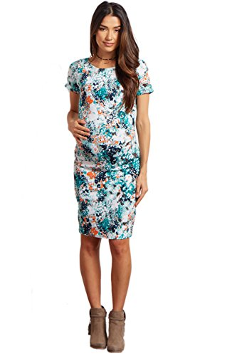 Aqua Floral Dress (PinkBlush Maternity Aqua Floral Print Fitted Short Sleeve Maternity Dress, Medi)