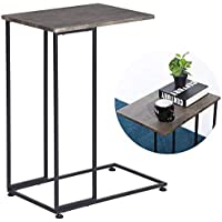 GreenForest Side Table for Small Places Living Room Bedside, C End Table for Sofa Couch, TV Tray Portable 29.5 inches High, Dark Grey