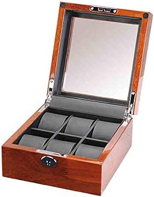 Caja de reloj de madera con 6 ranuras, elegante caja de reloj con tapa de vidrio, soporte for reloj con almohadas de reloj extraíbles, pantalla de reloj con forro de terciopelo, cierre