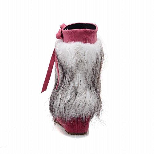 Charm Foot Womens Fashion Ribbons Faux-fur Wedge Mid-heel Short Winter Snow Boots Pink pj2AnMXa