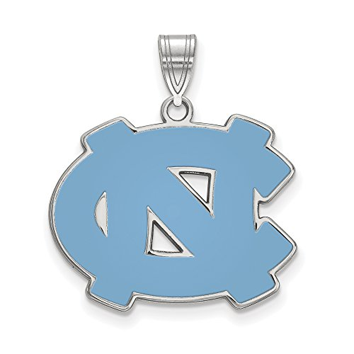 (LogoArt Sterling Silver North Carolina Tar Heels Large Enamel Pendant)
