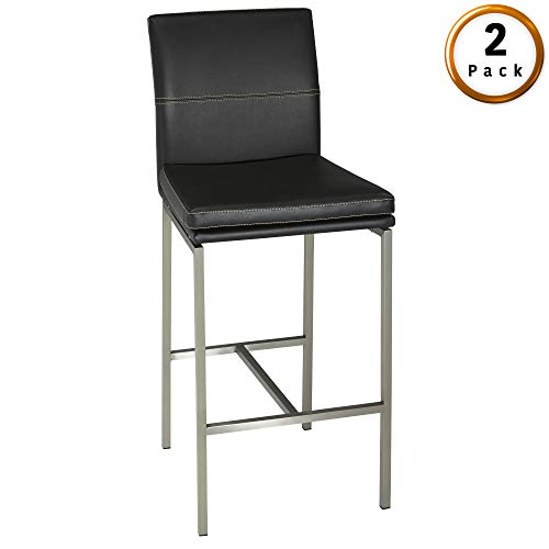 Fashion Bed Group Phoenix Counter Stool with Stainless Steel Finished Metal Frame, Curved Seatback and Obsidian Faux Leather Upholstery, 26-Inch Seat Height, 2-Pack