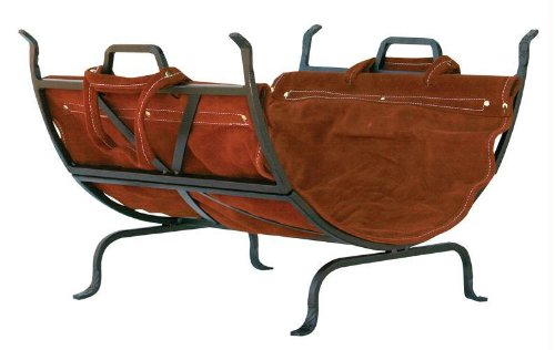 Olde World Iron Log Holder With Suede Leather Carrier (Holder Log World)