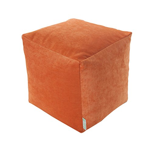 Majestic Home Goods Orange Villa Indoor Bean Bag Ottoman Pouf Cube 17