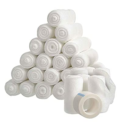 28-Count Gauze Bandage Rolls Value Pack, 2in x 4 yards Stretch Gauze Rolls with Medical Bandage Tape, Durable Injury & Wound Care Bandages, Medical Bandages, Sterile Gauze Rolls for First Aid Supplies