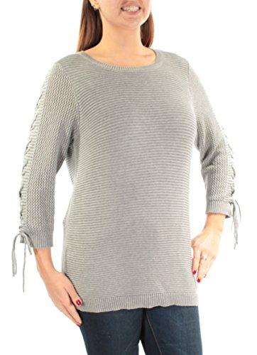 Calvin Klein $80 Womens New 1298 Gray Tie 3/4 Sleeve Jewel Neck Sweater L ()