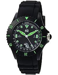Women's Quartz Plastic and Silicone Casual Watch, Color:Black (Model: 40NINE03/GREEN20)