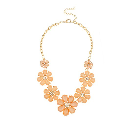 Lux Accessories Faceted Peach Appricot Stone Pave Flower Bib Statement Floral Chain Necklace ()