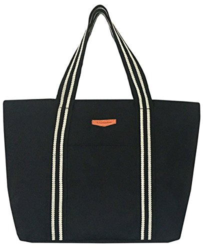 Large Utility Canvas and Nylon Travel Tote Bag For Women and Girls1703(F.Black)