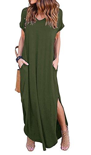 POSESHE Womens Casual V Neck Side Split Beach Long Maxi Dress