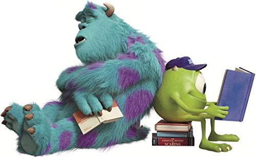 14 INCH Sulley & Mike Wazowski Studying Decal James P. Sullivan Monsters Inc University Repositionable Removable Peel Self Stick Wall Sticker Art Home Decor (Decoration for Walls Laptop) 14 x 9 inch]()