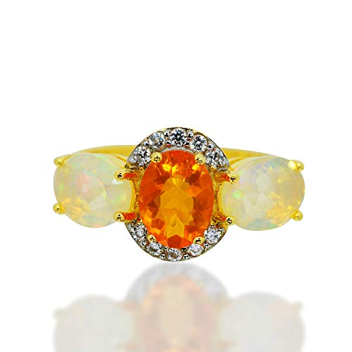 925 Sterling Silver Ring Mexican Fire Opal and Ethiopian Opal White Zircon Gemstone Yellow Gold Tone. (8)