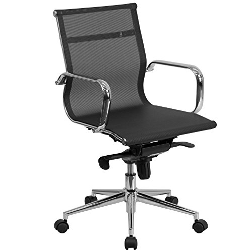 Flash Furniture Mid-Back Transparent Black Mesh Executive Swivel Chair with Synchro-Tilt Mechanism and Arms