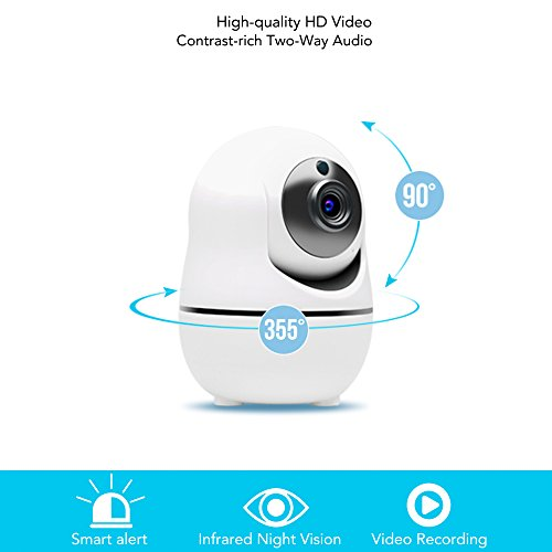 InCliick V3 Wireless Security Camera System, WiFi IP Camera, HD 1080, Pan Tilt, Two Way Audio, Motion Detection, Siren Alarm, Push Notification, Record, Night Vision, APP for iOS, Android, White by InCliick