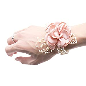 HuaHua-Store Wedding Bride Girl Bridesmaid Floral Hand Wrist Corsage Adjustable Ribbon Rose Bracelets 98