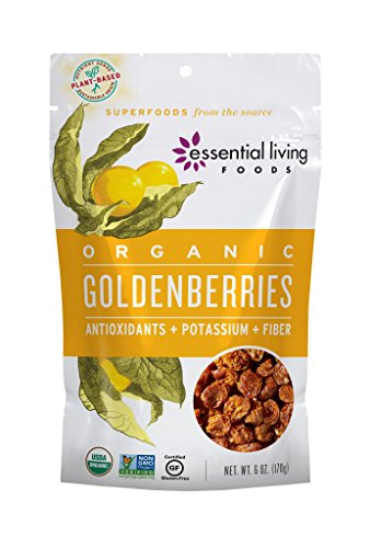 Essential Living Foods Organic Goldenberries, Dried, Highest Quality, Single Origin, Vegan, Superfood, Non-GMO, Gluten-Free, Kosher, 6 Ounce Resealable Bag by Essential Living Foods