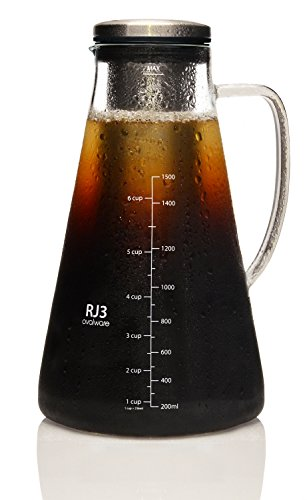 Airtight Cold Brew Iced Coffee Maker (& Iced Tea Maker) with Spout – 1.5L/51oz Ovalware RJ3 Brewing Glass Carafe with Removable Stainless Steel Filter (Maker Pressed Cold Coffee)