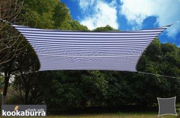 クッカバラ日除けシェードセイル 青X白ストライプ4x3m長方形 紫外線98%カット 防水タイプOL4004REC B06XSJLPRS 23500 長方形: 3x4m  長方形: 3x4m