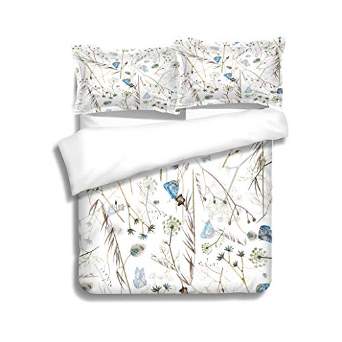 (MTSJTliangwan Duvet Cover Set Vector Summer Seamless Pattern with Wildflowers and Blue Butterflies 3 Piece Bedding Set with Pillow Shams, Queen/Full, Dark Orange White Teal Coral)