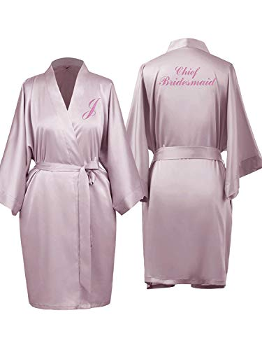 (SIORO Bridesmaid Robes for Wedding Party Custom Embroidered Womens Silk Robe,Bride Satin Bathrobes,Dusty Rose M)