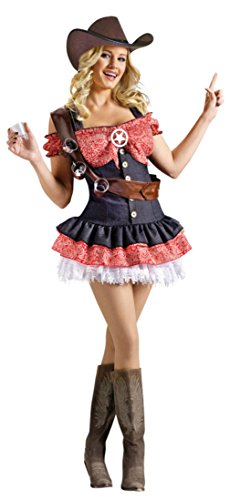 Funworld Womens Western Shotgun Sheriff Sexy Halloween Themed Fancy Costume, M/L (14 Sexy Halloween Costumes)