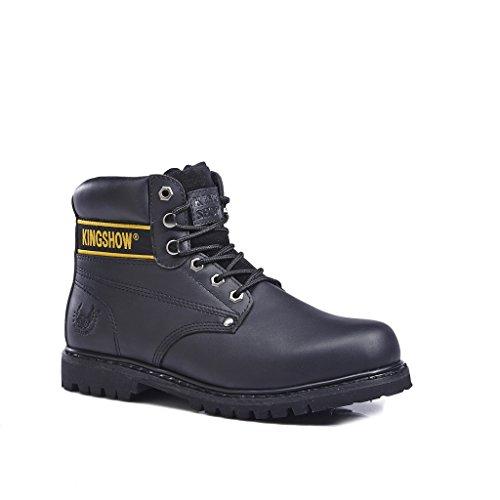 Rubber Leather Soft Work Grain KINGSHOW Plain Full Men's Premium 1406 Sole 8036black Boots Toe xqwqU0f