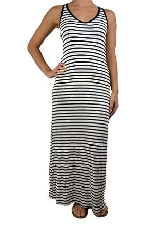 143Fashion Ladies Fashion Striped Round Neck Maxi Dress, Black/White, Large