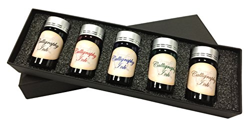 Kentaur Standard Bottle Ink Set - 25 ml (5 Color) - For Fountain Pens, Dips Pens, Ink Refills, and Calligraphy by Kentaur (Image #1)