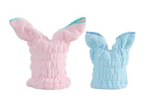 2 Packs Rabbit Ear Towels Adult Drying Hair Cap Pink + Kids Hair Drying Cap Blue by Gentle Meow