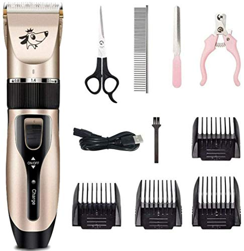 KRY Professional Rechargeable Cordless Dogs Cats Horse Grooming Clippers – Professional Pet Hair Clippers with Comb Guides for Dogs Cats Horses and Other House Animals Pet Grooming Kit (Gold)