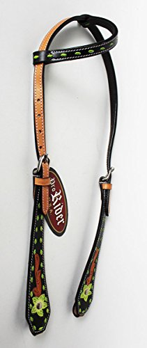 (ProRider Horse Tack Bridle Western Leather Headstall Lime Green 8278HA)