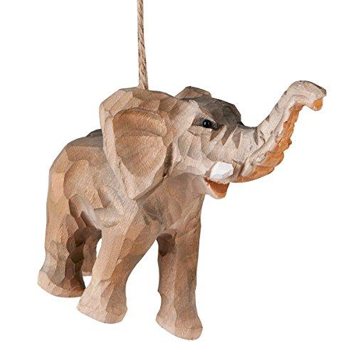 Christmas Elephant - Elephant Carved Wood Ornament