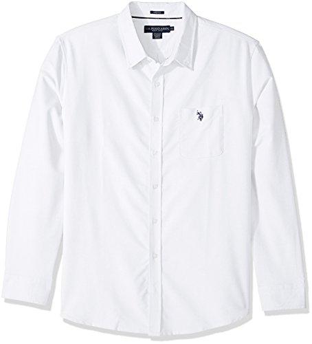 (U.S. Polo Assn. Men's Long Sleeve Classic Fit Solid Shirt, Optic White LKFC, XXL)