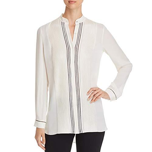 Elie Tahari Womens Sydney Silk Pleated Tunic Top Ivory M ()