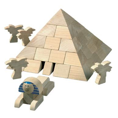 HABA Pyramid Wooden Architectural Building Blocks 67 Piece Set - Build Chambers for the Sarcophagus